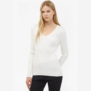 French Connection True White V-Neck Sweater - S
